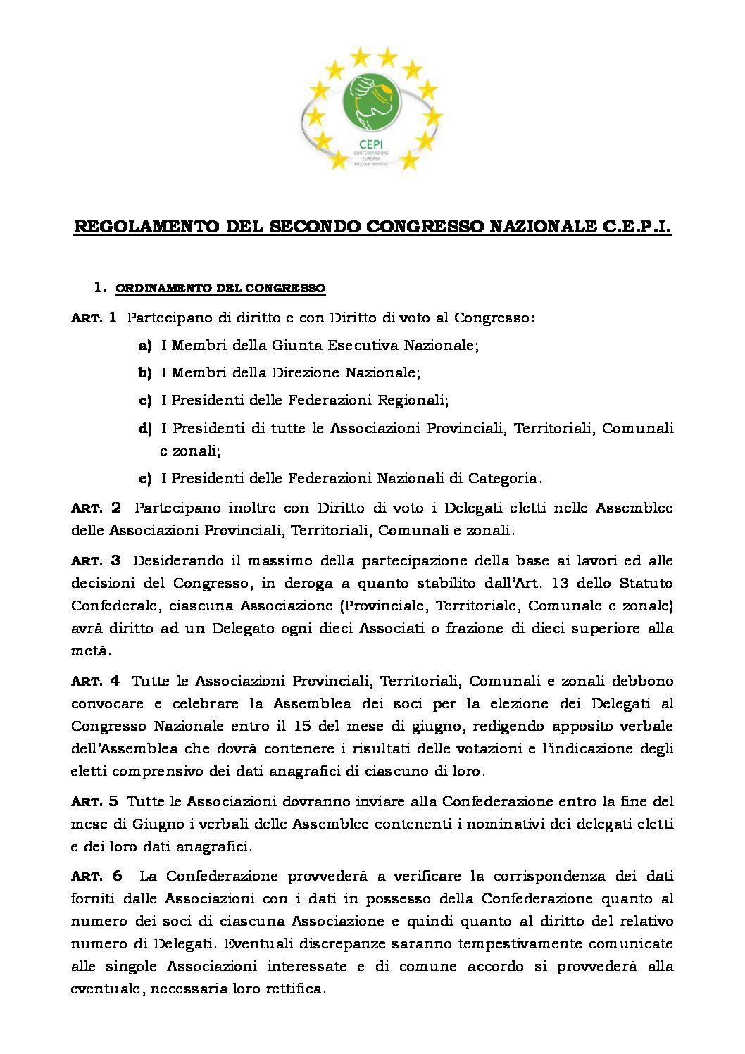 Regolamento del 2° Congresso della Confederazione Europea delle Piccole Imprese
