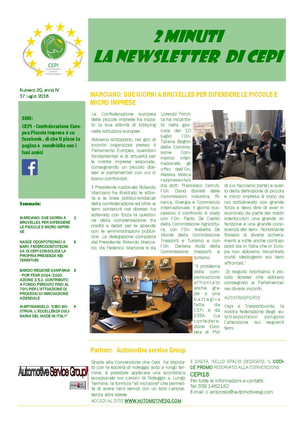 Leggi il nuovo numero di 2 minuti – la newsletter di CEPI
