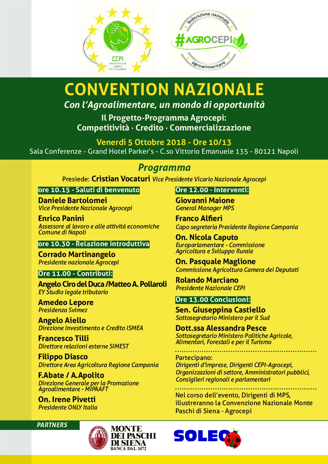 CONVENTION NAZIONALE #AGROCEPI – Venerdì 5 ottobre 2018