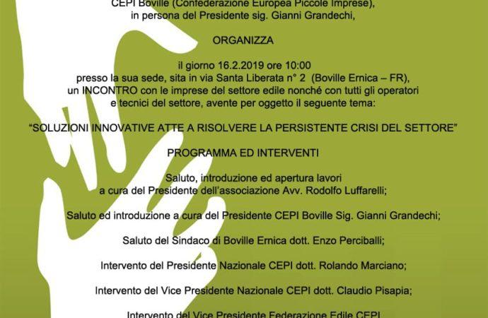 Incontro con le imprese del settore edile – Boville Ernica, 16 febbraio 2019