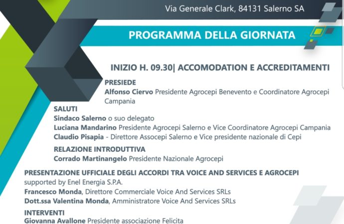 """""""Le nostre attività a supporto dell'agroalimentare italiano innovativo e conveniente"""" – 19 luglio 2019 – Salerno"""
