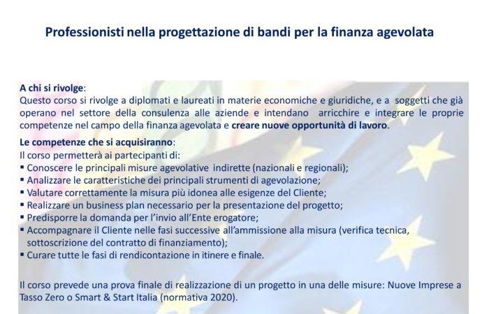 """Corso di formazione """"Progettare nella Finanza Agevolata"""" – edizione 2020"""