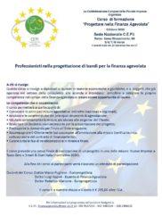 """Corso di formazione """"Progettare nella Finanza Agevolata"""" edizione 2020"""