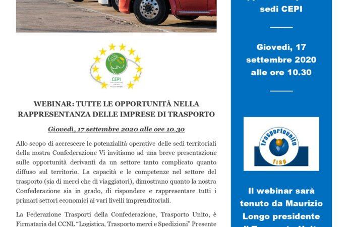 """WEBINAR """"TUTTE LE OPPORTUNITA' NELLA RAPPRESENTANZA DELLE IMPRESE DI TRASPORTO"""